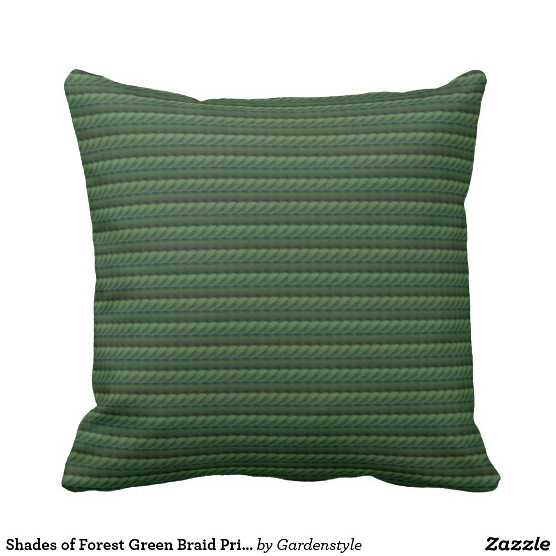 Shades Of Forest Green Braid Print Pillow 16 X16 Throw Pillows Green Pillows Decorative Printed Throw Pillows
