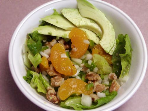avocado and mandarin orange salad-only 136 calories...even with dressing