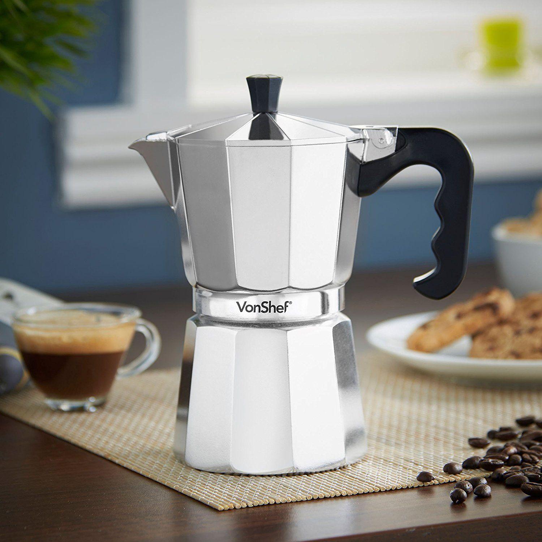 Vonshef cupml italian espresso coffee maker moka stove top