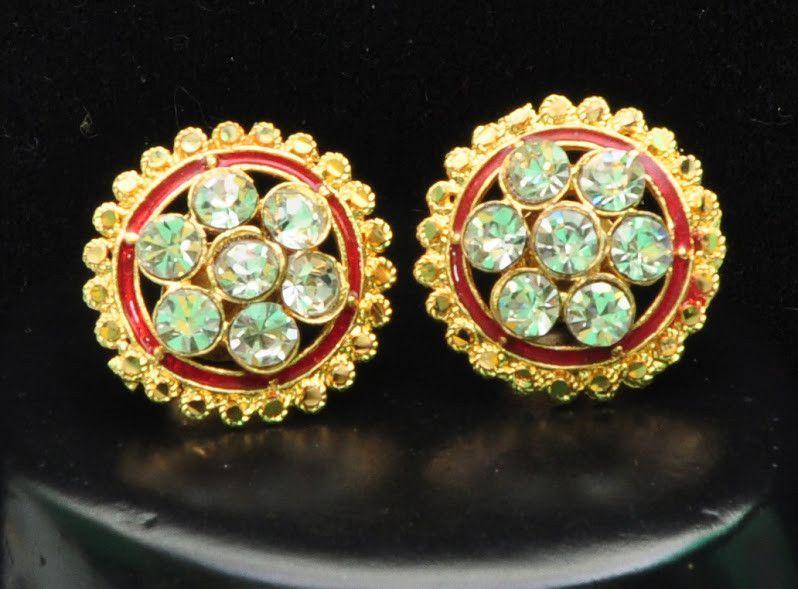 Red Gold Stud Diamond Earrings