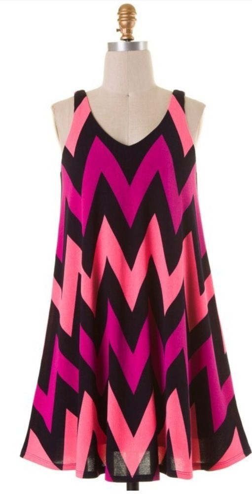 Pink/Navy Chevron Dress