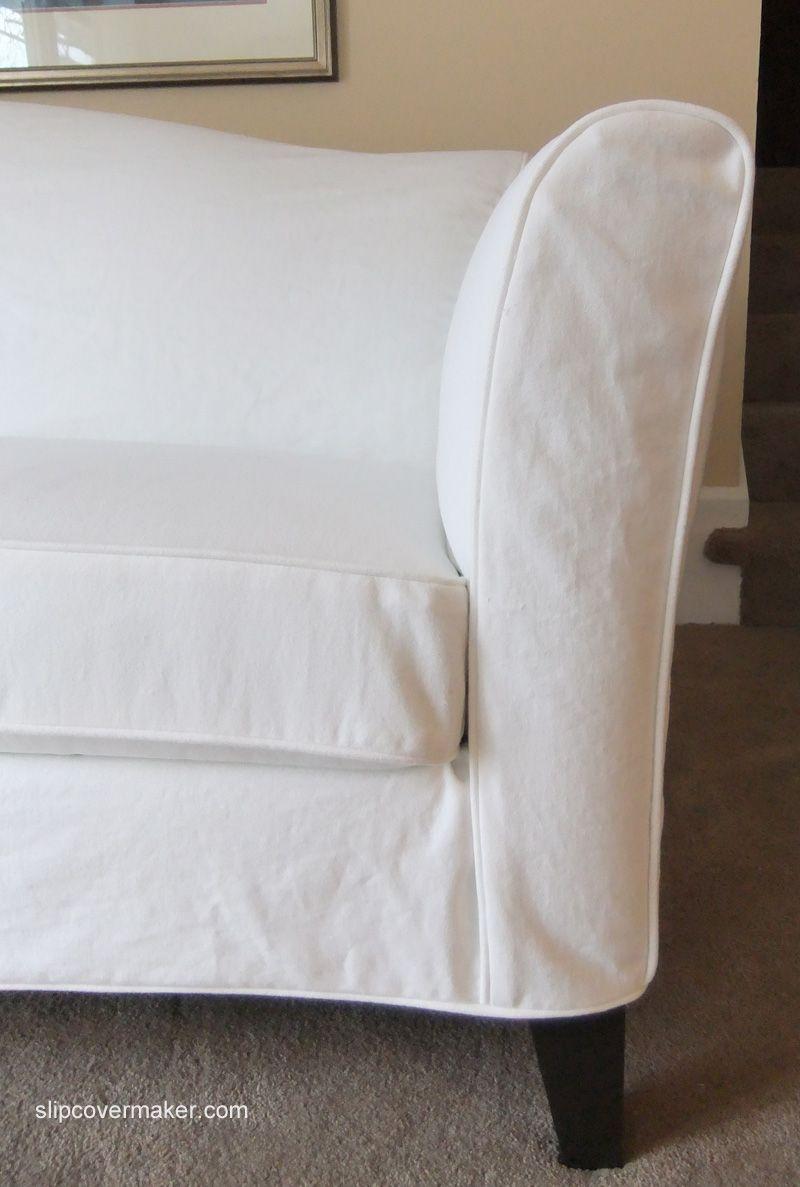 White Denim Slipcover For Ethan Allen Leather Sofa