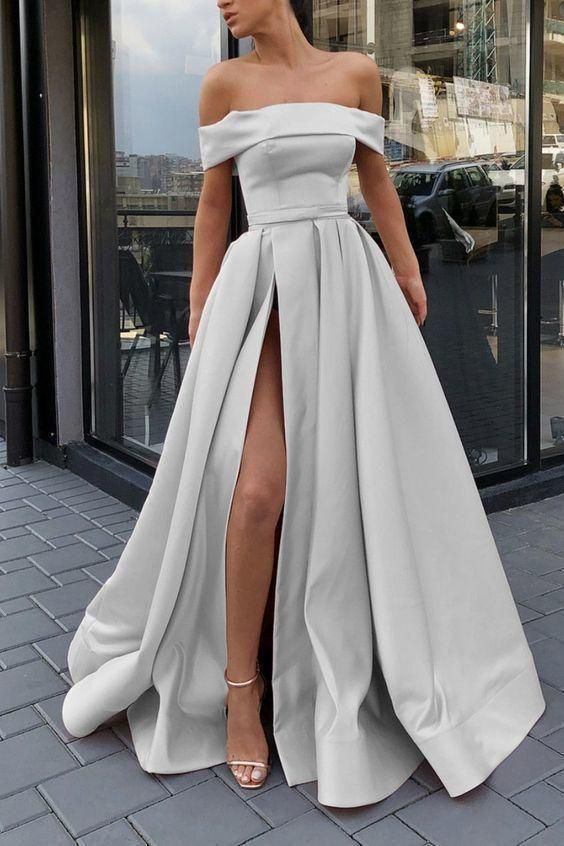 Boat neck silver prom dresses long satin elegant a line cheap prom gown with side slit abendkleider