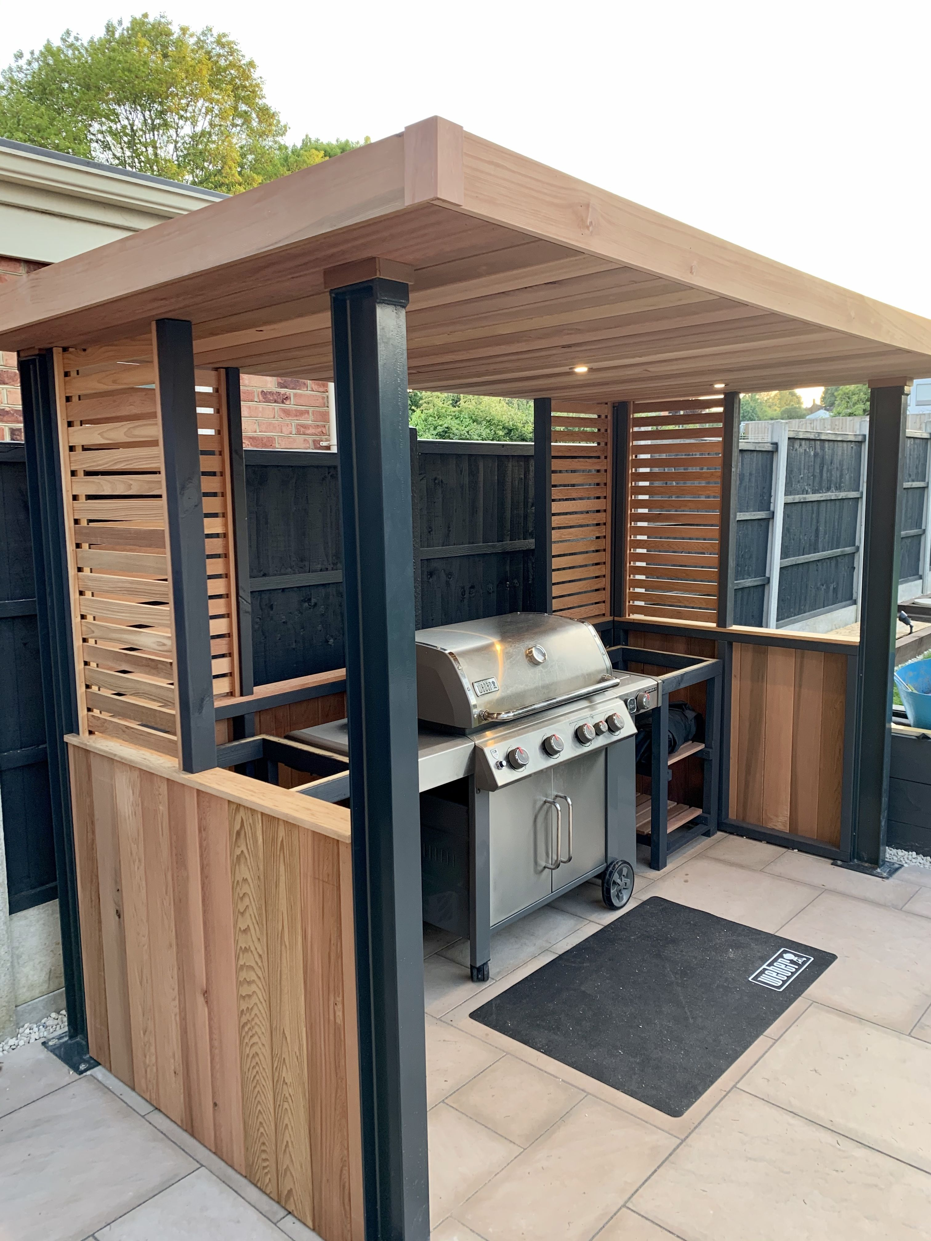 Tuin en terras 3 Sizes 2 x Barbecue BBQ Grill Cedar Wood