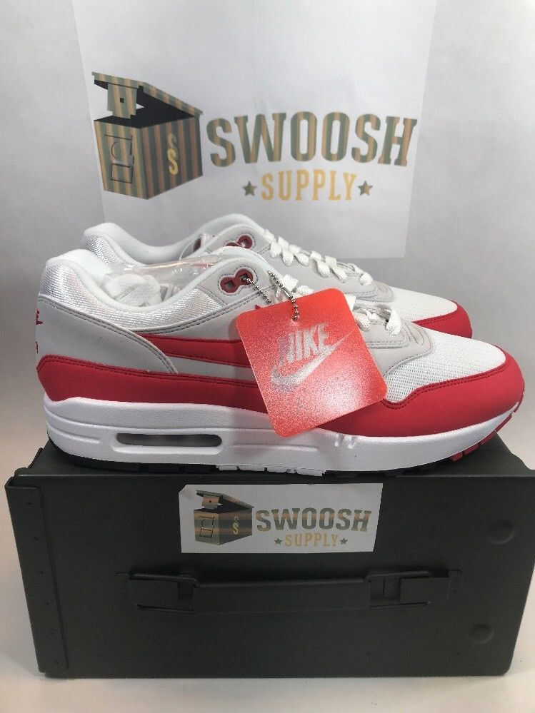 size 40 3c981 519af Nike Air Max 1 Anniversary University Red OG Size 11 White 2017 908375-103