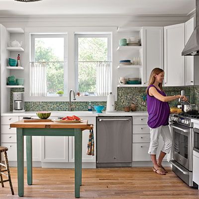 Pull Out Cabinets And Trim Around North Window Put In Corner Shelves To Open Up The Room Coastal Cottage Kitchen Cottage Kitchens Prefabricated Houses
