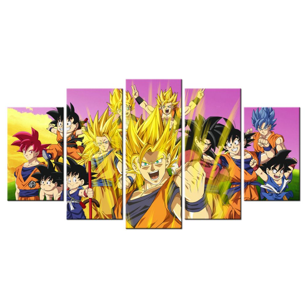 Dragon Ball Z Decorations 5 Piece Dragon Ball Z Poster Picture Canvas Wall Decor Art