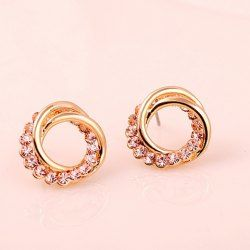 $4.01 Pair of Fashional Rhinestone Decorated Winding Shape Women's Stud Earrings