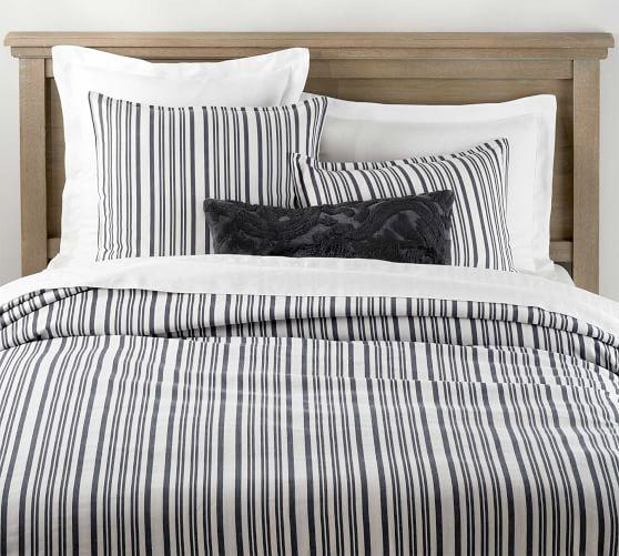 Antique Stripe Yarn Dye Cotton Duvet Shams Navy Pottery Barn Duvet Covers Cotton Duvet Cover Bed Linens Luxury