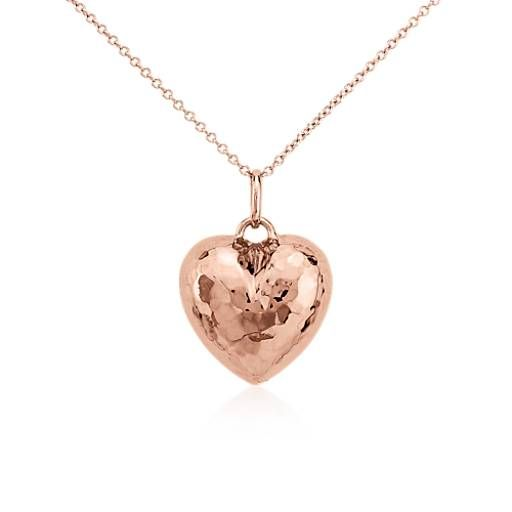 Hammered heart pendant in 14k rose gold pendants rose and gold hammered heart pendant in 14k rose gold mozeypictures Choice Image