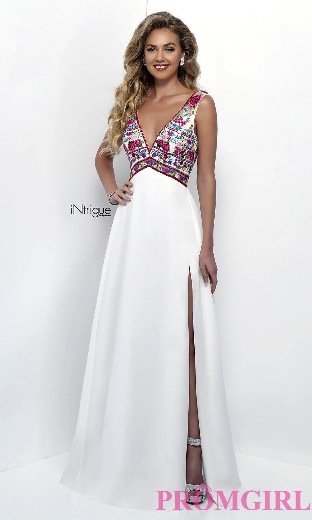 Long embroidered ivory v-neck empire waist prom dress with an open ...