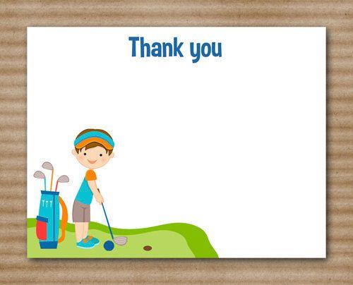 Golf Thank You Cards Golf Birthday Party Miniature Golf