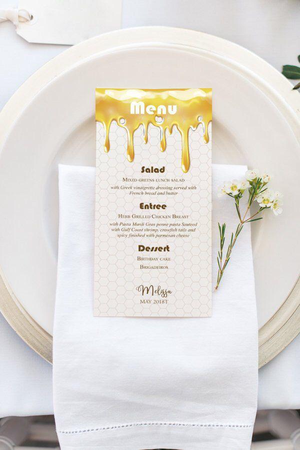 Printable Honey Birthday Party Menu Template Dripping Honey Bee