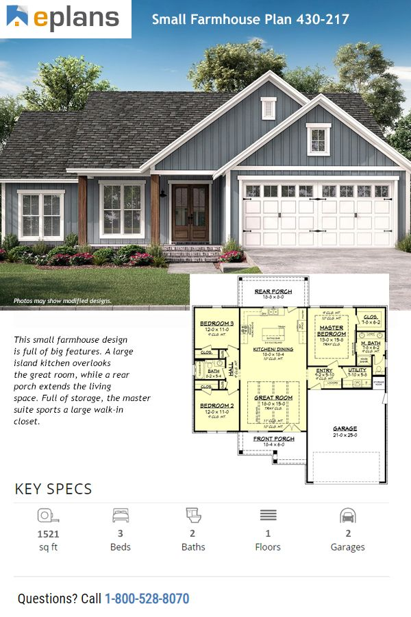 Plan 430-217 | $1045+ (best price guaranteed) | This new, small farmhouse plan offers three bedrooms, two baths, an open layout, a kitchen island, decorative ceilings, and a mudroom with lockers Questions? Call 1-800-913-2350 today. #architect #architecture #buildingdesign #homedesign #residence #homesweethome #dreamhome #newhome #newhouse #foreverhome #interiors #archdaily #modern #farmhouse #house #lifestyle #design