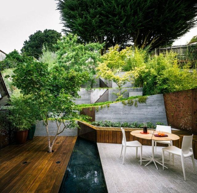 Moderne Gartengestaltung Hanglage Terrasse Japanischer Ahorn Baum