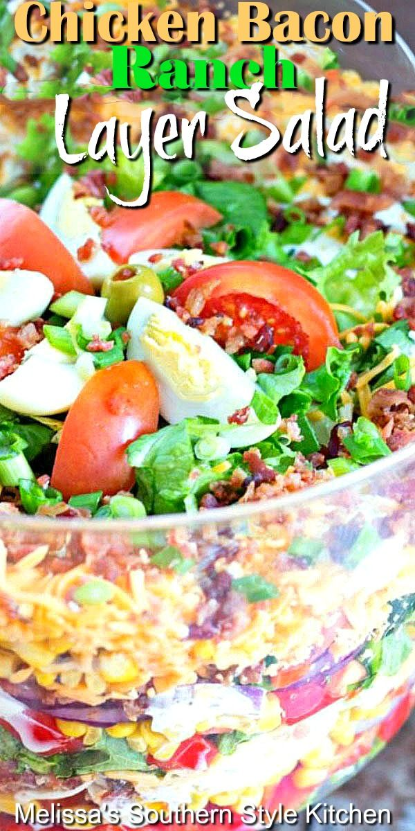 Chicken Bacon Ranch Layer Salad In 2020 Salad Side Dishes Layered Salad Layered Salad Recipes