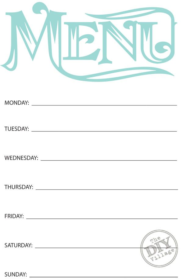 Free printable weekly menu planner weekly menu planners for Party menu planner template