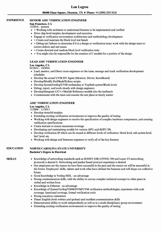 vlsi fresher resume sample