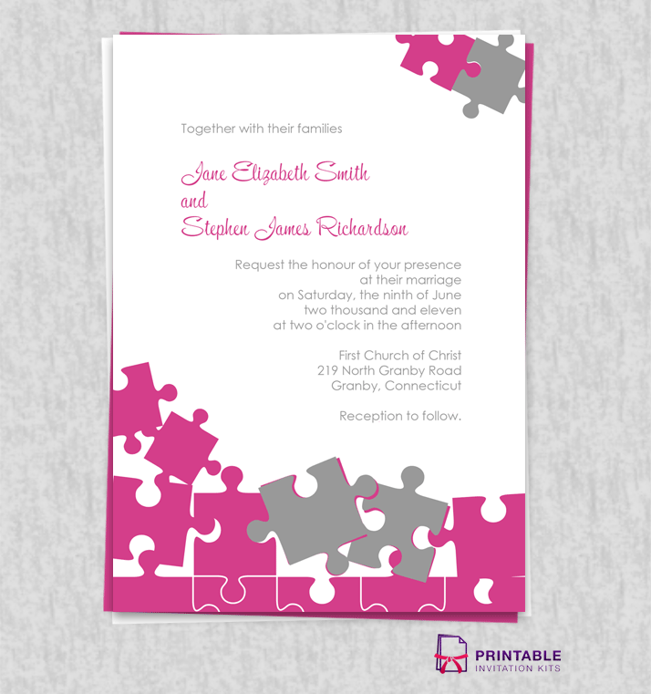 Free Pdf Jigsaw Puzzle Wedding Invite Easy To Edit And Print At Home For Customizations Printableinvitationkits Gmail Dot Com