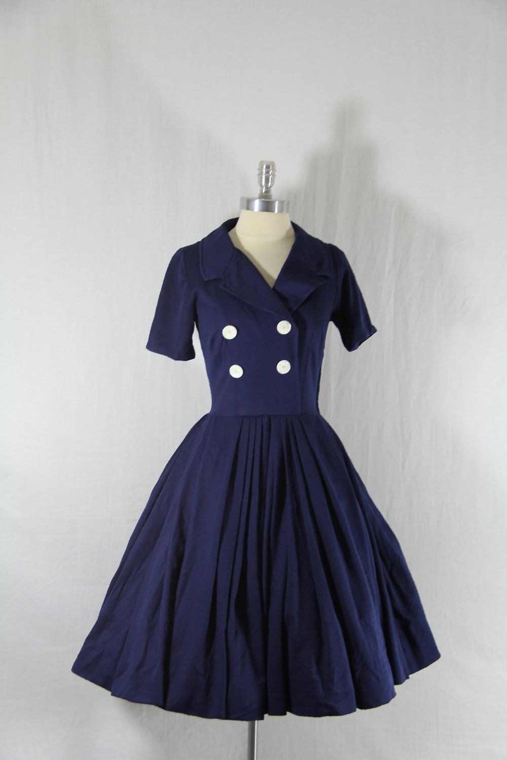 S vintage dress navy blue full skirt sailor inspired vintage