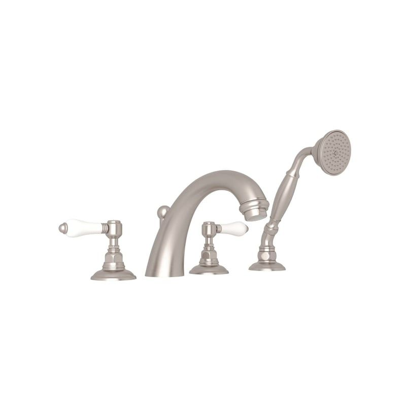 Rohl A2104LPSTN Satin Nickel San Julio Roman Tub Faucet with Porcelain Lever Handles and Single Function Hand Shower