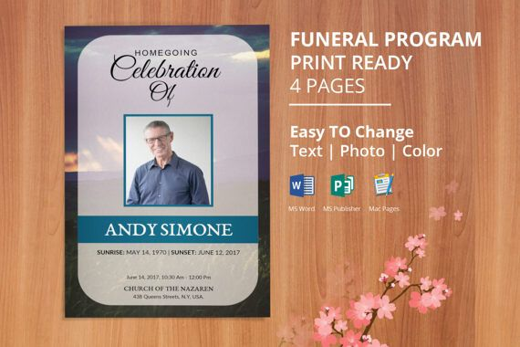 Funeral Program Template, Obituary Program Template Editable With