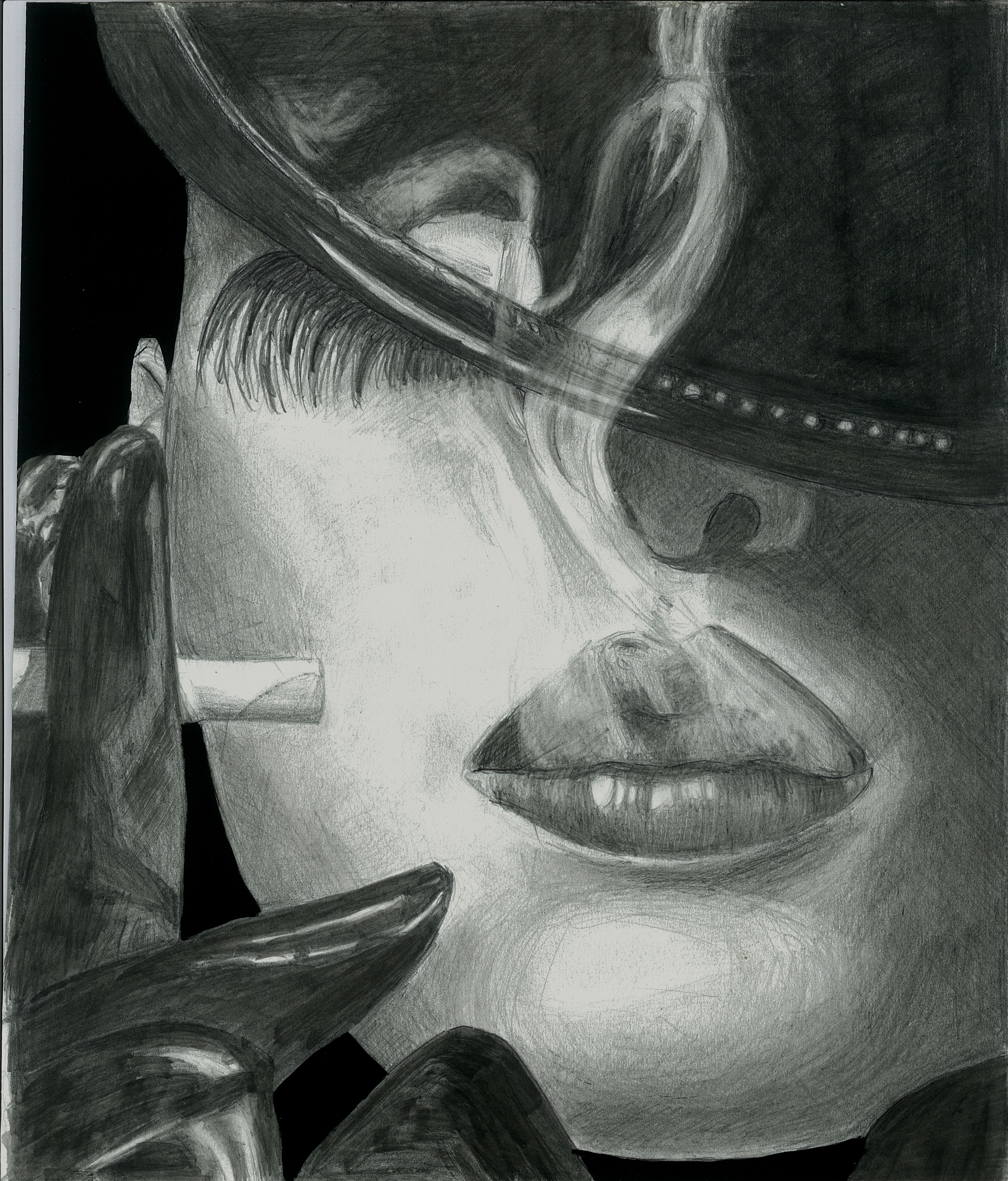 Pencil drawing black and white cigarette smoke art sexy classy woman smoking fedora hat covering the face artwork by dasha