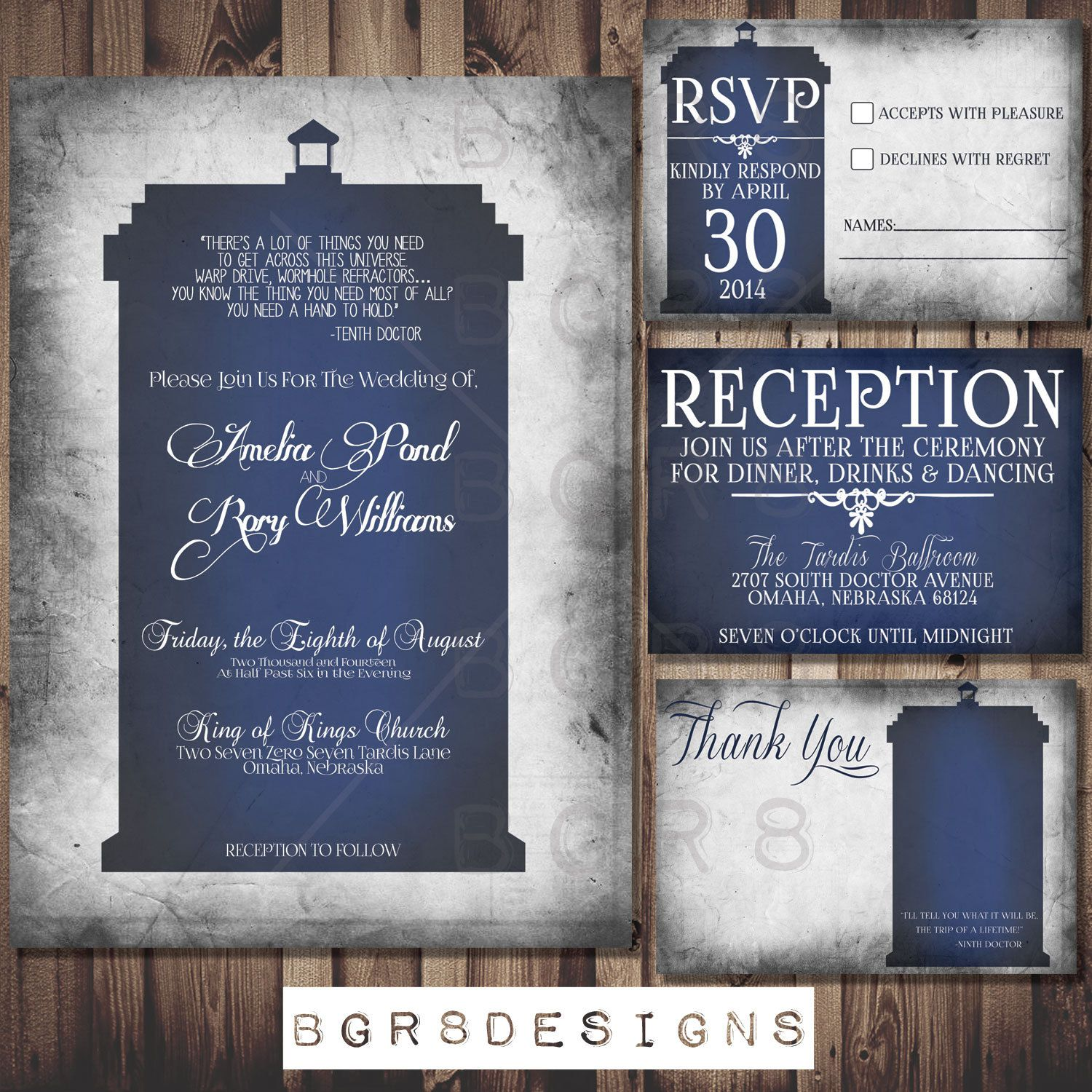 Exceptional Doctor Who TARDIS Wedding Invitation Set PRINTABLE By Bgr8Designs, $25.00