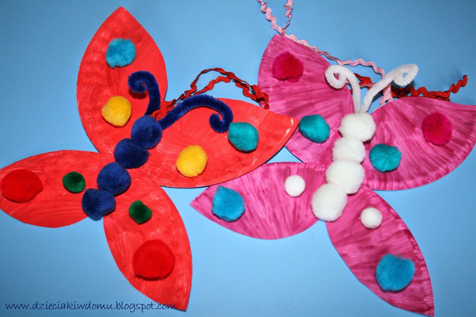 Kolorowe Motyle Dzieciaki W Domu Butterfly Crafts Paper Plate Crafts Plate Crafts