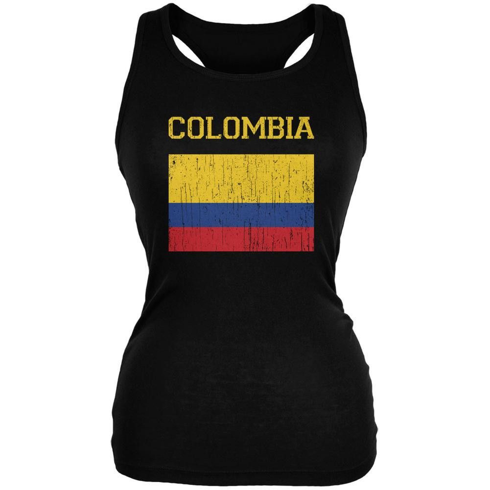 b85948f3f79 World Cup Distressed Flag Colombia Black Juniors Soft Tank Top ...