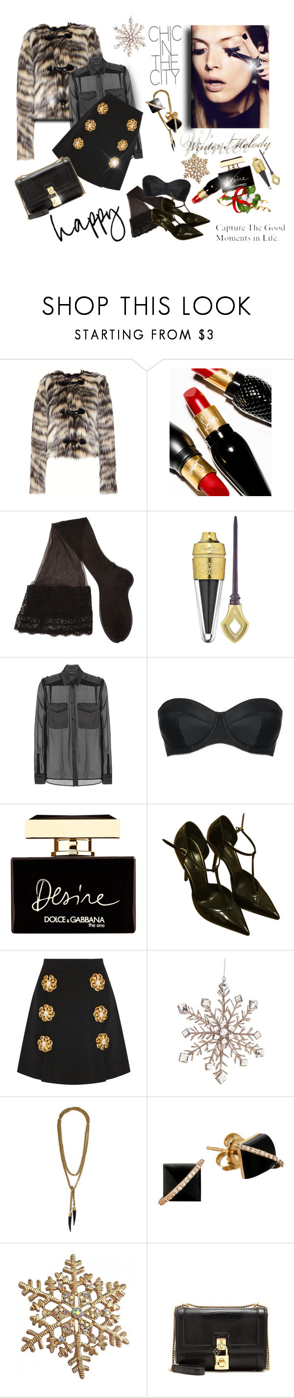 """MADELINE"" by livelfashion ❤ liked on Polyvore featuring Lanvin, Christian Louboutin, SERIE NOIRE, CERVIN, Guerlain, Tom Ford, L'Agent By Agent Provocateur, Dolce&Gabbana, Melrose International and SOKO"
