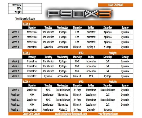 P90X3 - Calendar Lean Exercises Pinterest P90x3 calendar - printable workout sheet