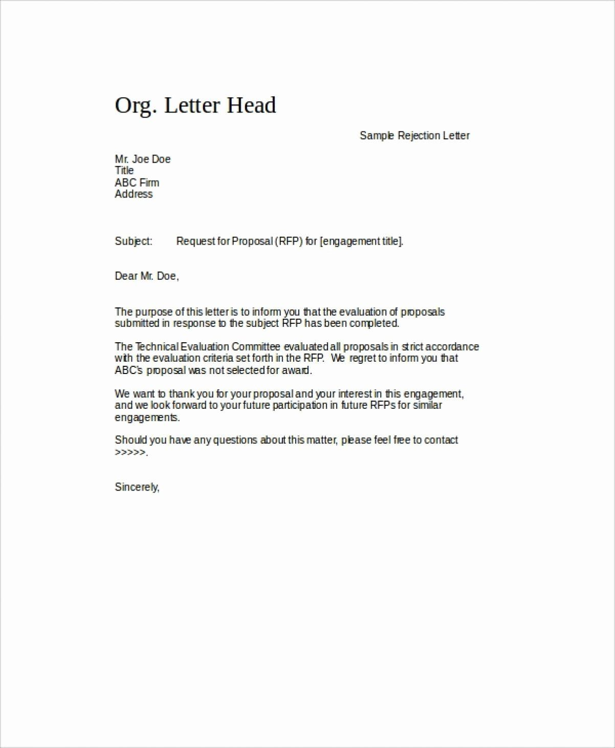 Request For Proposal Rejection Letter New 9 Rfp Rejection Letter In 2020 Proposal Letter Request For Proposal Sample Proposal Letter