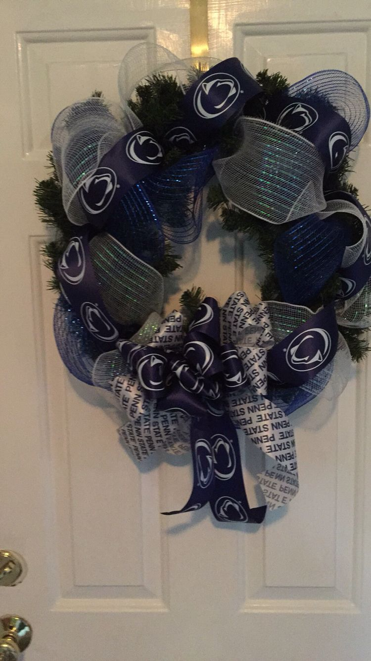 Holiday wreath for my Nittany Lion.  Easy to make
