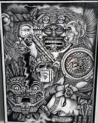 Pin by April Garcia on Aztec | Latino art, Chicano art, Aztec art