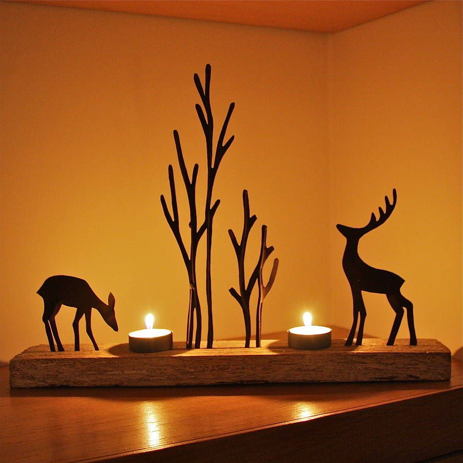 christmas reindeer double tealight decoration by london. Black Bedroom Furniture Sets. Home Design Ideas