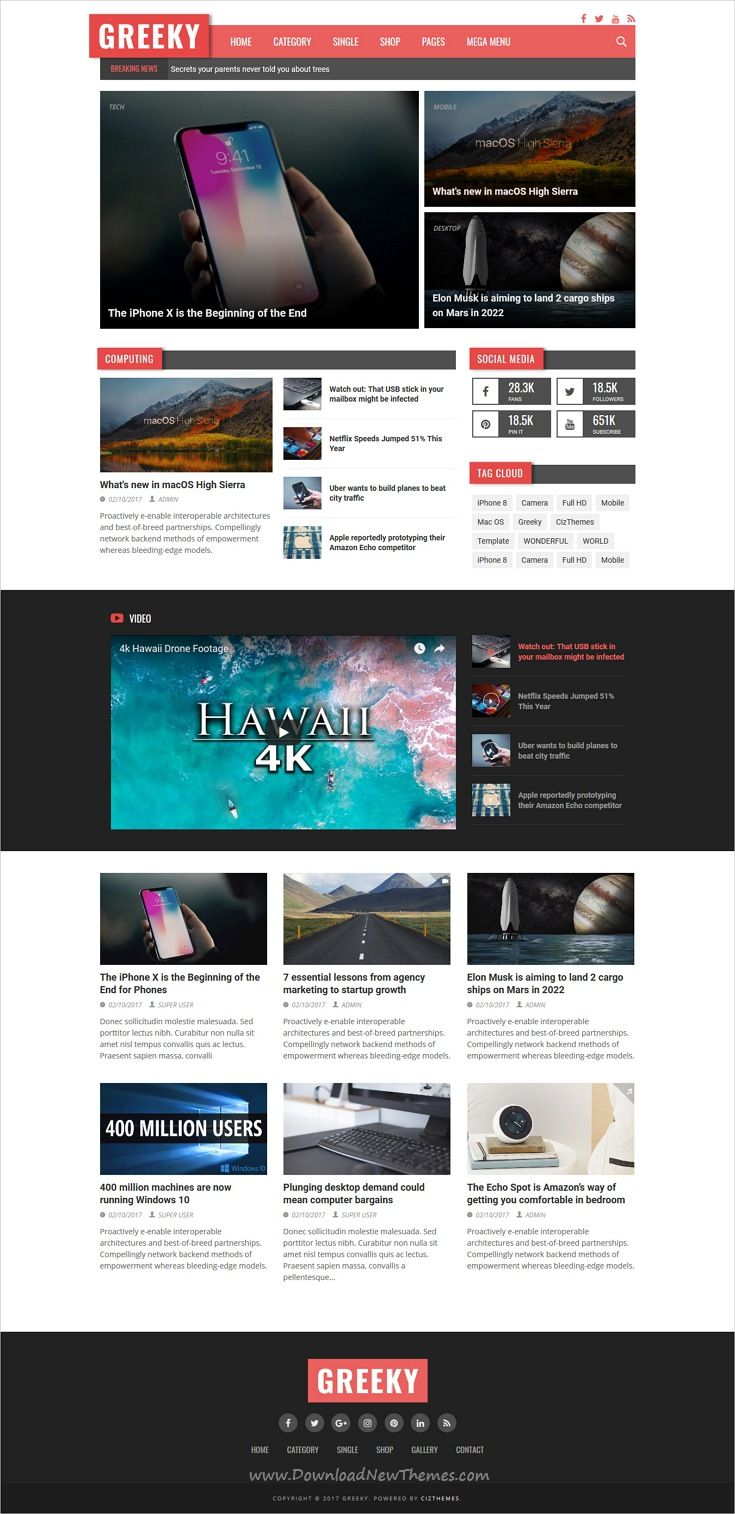 Greeky Is Clean And Modern Design Responsive Html5 Template For Tech News Blog