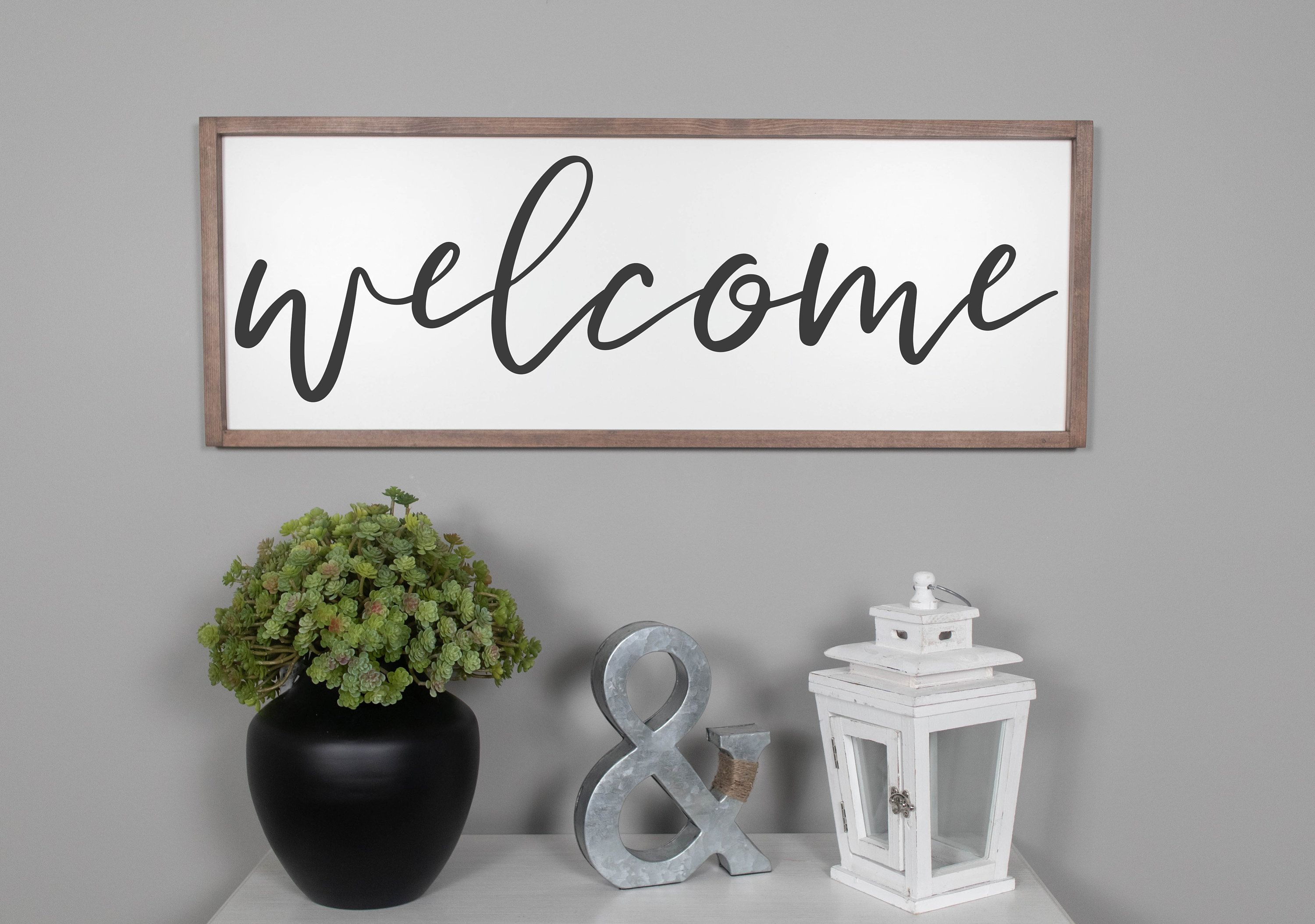 Welcome Sign Framed Wood Signs Farmhouse Signs Farmhouse Etsy Entryway Signs Entryway Wall Decor Wood Frame Sign