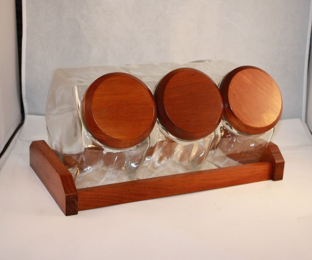 vtg slant glass canister set with wood lids and stand cookie candy