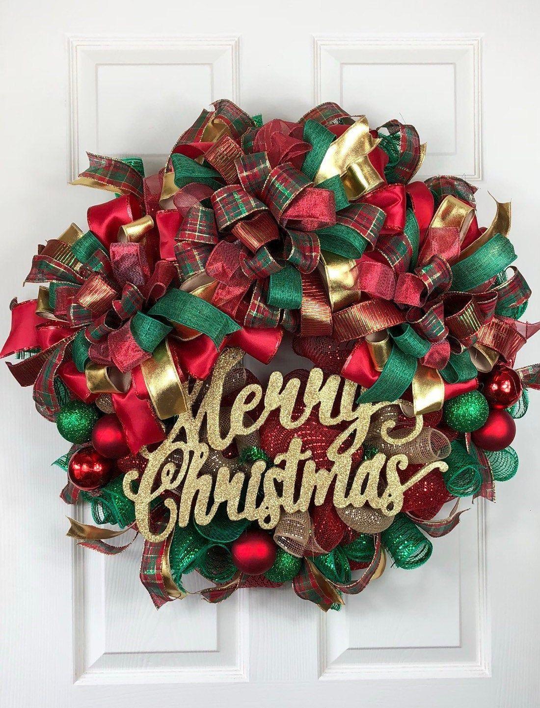 Christmas Wreath, Deco Mesh Christmas Wreath, Christmas Wreath, Holiday Wreath, Custom Door Wreath, Best Front Door Wreath, MerryChristmas by BelleChaseWreaths on Etsy