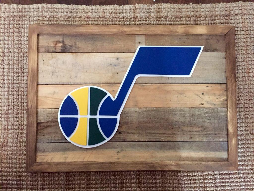 3-D wood sign. Retro Utah jazz logo sign. Reclaimed wood sign. - 3-D Wood Sign. Retro Utah Jazz Logo Sign. Reclaimed Wood Sign