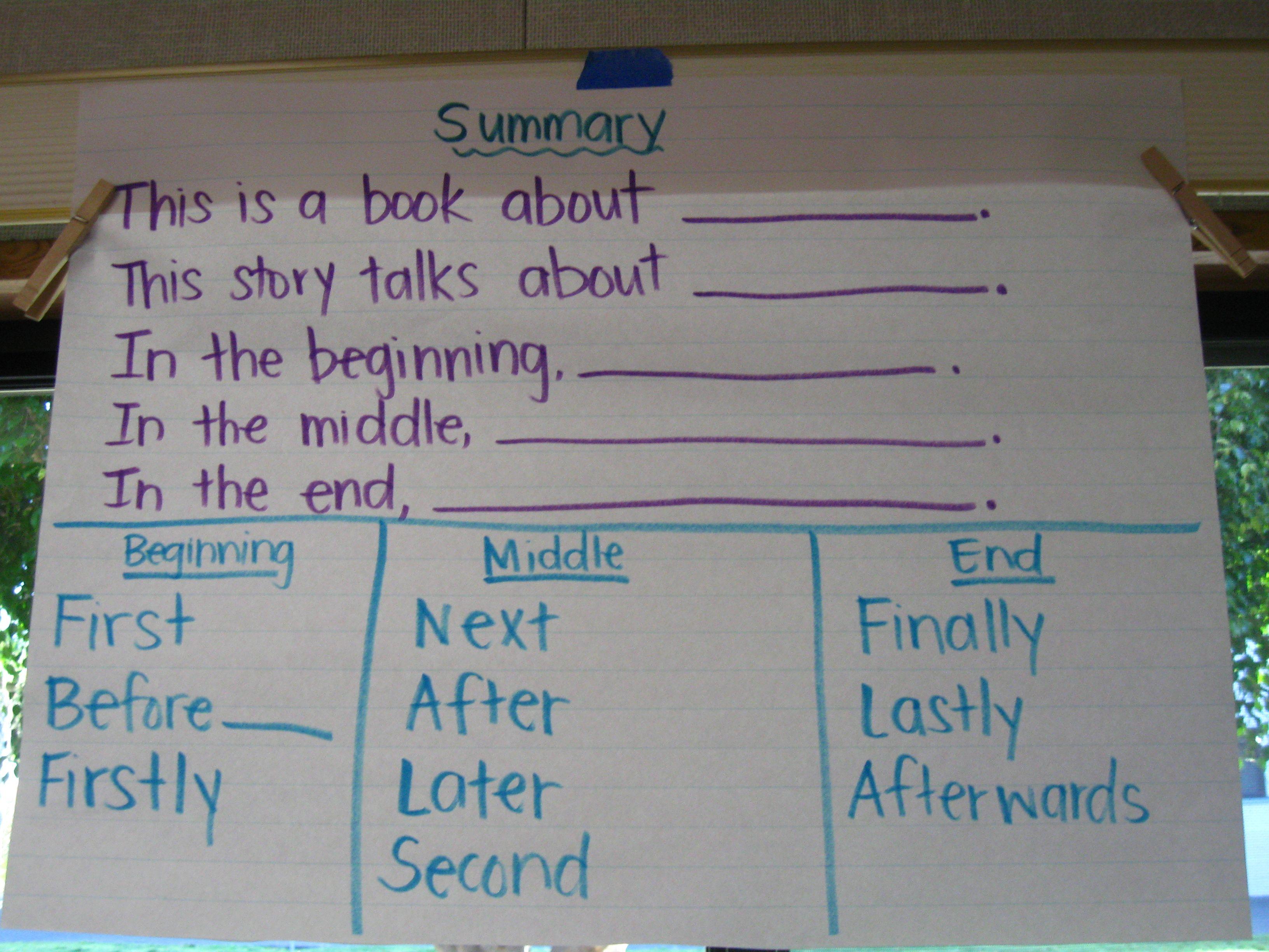 Sentence Frames For Writing A Summary