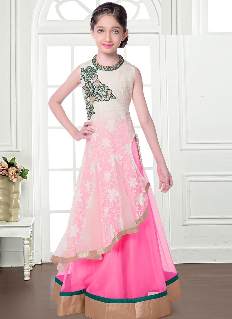Flawless Pink And White Net Kids Anarkali Salwar Suit | 3 ...