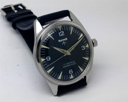 VERY-RARE-HMT-PARASHOCK-17-JEWELS-MILITARY-STYLE-DIAL-MENS-INDIAN-WRISTWATCH