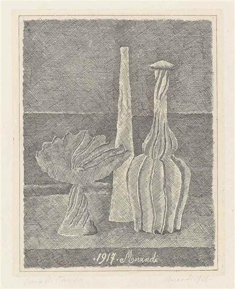 Giorgio Morandi, Natura morta con compostiera, bottiglia lunga e bottiglia scannellata