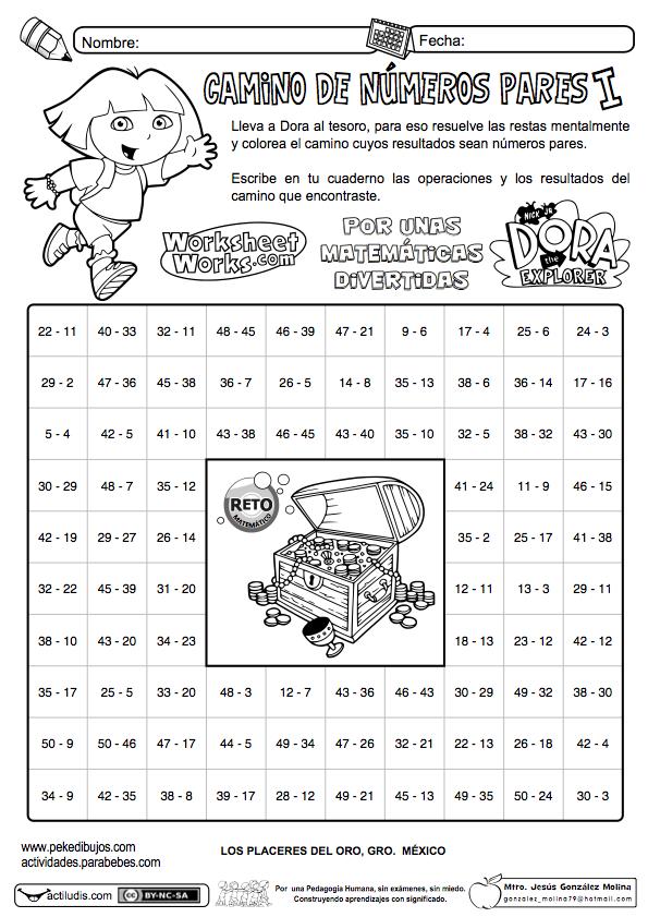 Camino De Números Pares Actividades Y Fichas Para Matemáticas