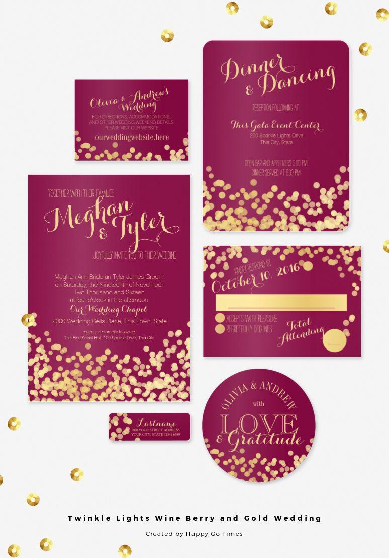 burgundy wedding invitations Wine berry and gold twinkle lights wedding invitation set Gold dots light effect design and elegant burgundy wine or cranberry color wedding