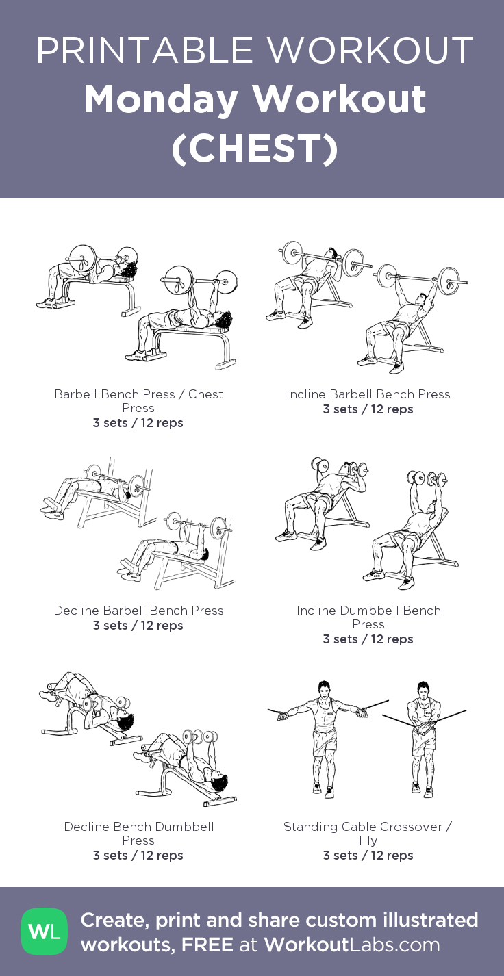 Monday Workout (CHEST) my visual workout created at