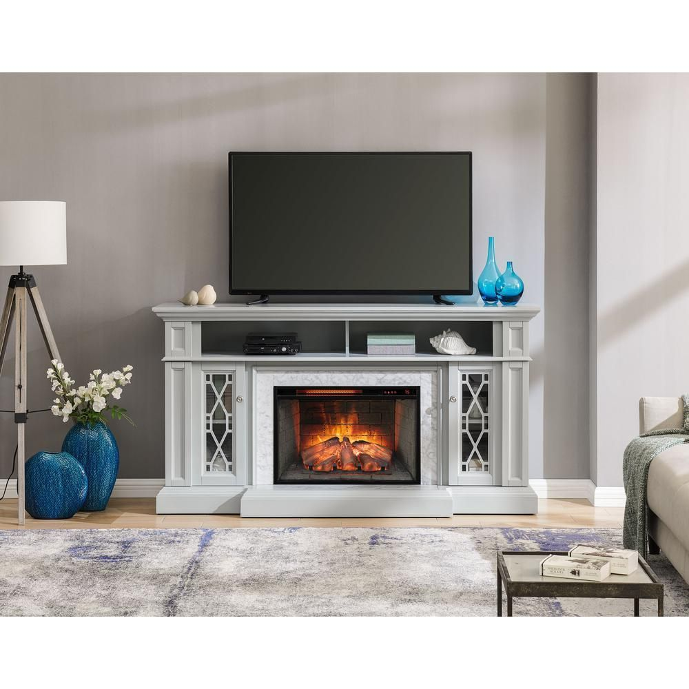 68 In Freestanding Infrared Electric Fireplace Tv Stand In Gray With Carrara Marble Surr Fireplace Tv Stand Electric Fireplace Tv Stand Freestanding Fireplace