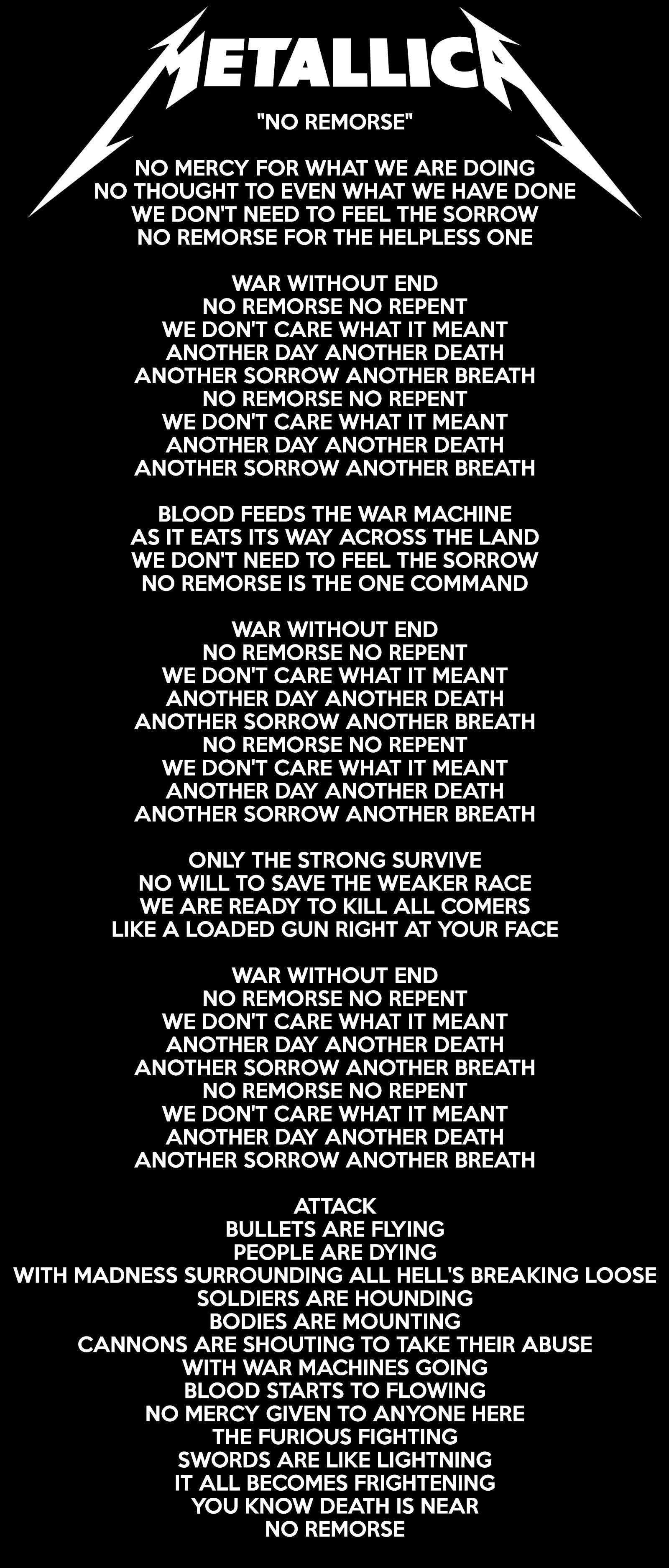 No Romorse Metallica Lyrics Metallica Lyrics Metallica Song Metallica Quotes